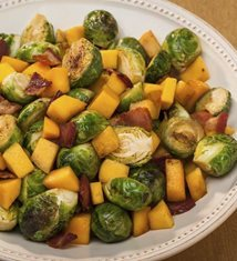 Brussels Sprouts with Mango and Bacon