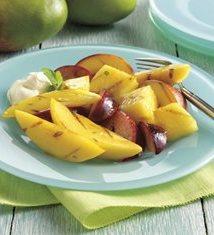 Honey Grilled Fruit with Lime-Mint Vinaigrette