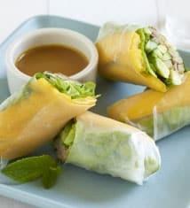 Pulled Pork and Mango Summer Rolls with Carolina Mustard Sauce