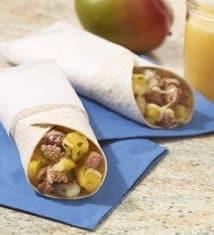 Mango, Sausage and Potato Breakfast Burritos