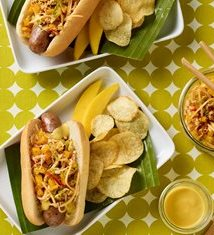 Brat with Mango Kimchi and Mango Mustard