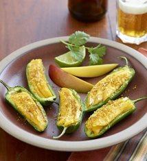 Mango Manchego Stuffed Jalapenos with Curry Cornmeal Crunch