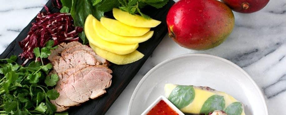 Pork Tenderloin and Mango Spring Rolls
