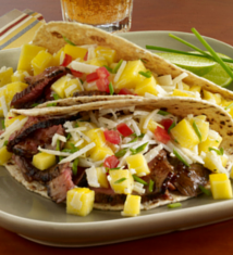Apricot Chili Marinated Lamb Tacos with Mango Jicama Slaw