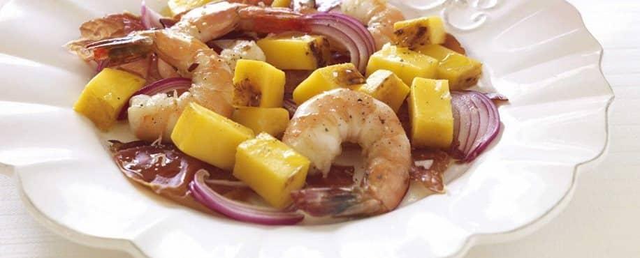Caramelized Mango with Crispy Serrano Ham and Jumbo Shrimp