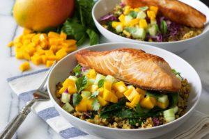 Curried Salmon Quinoa and Mango Bowl
