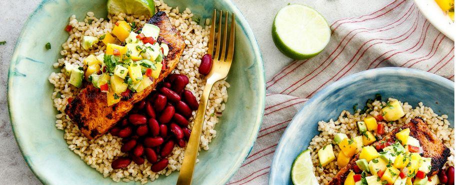Cajun Salmon with Mango, Pineapple, Avocado Salsa Recipe