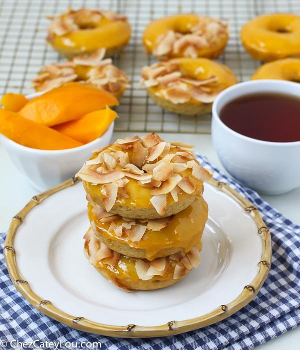 Mango Glazed Doughnuts with Coconut
