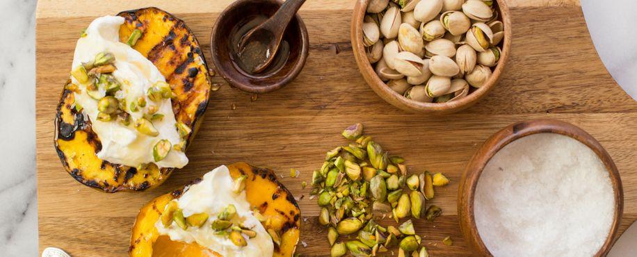 Grilled Mango with Whipped Honey Ricotta Cream