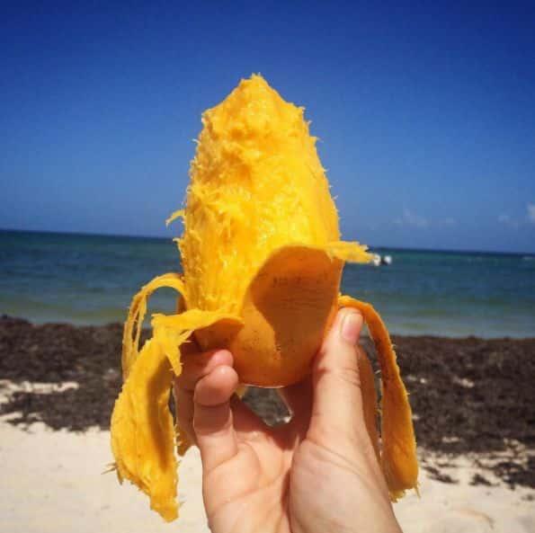Peeled Mango by the Beach