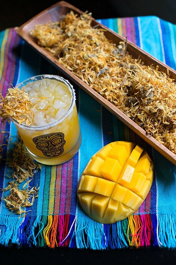 Mango and marigold margarita for Día de los Muertos
