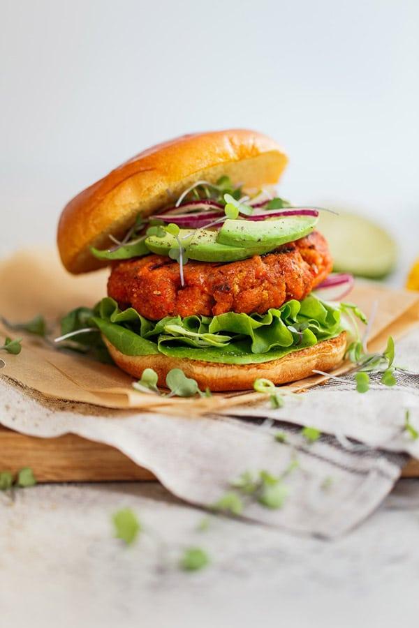 National Seafood Month - Jerk Salmon Burgers