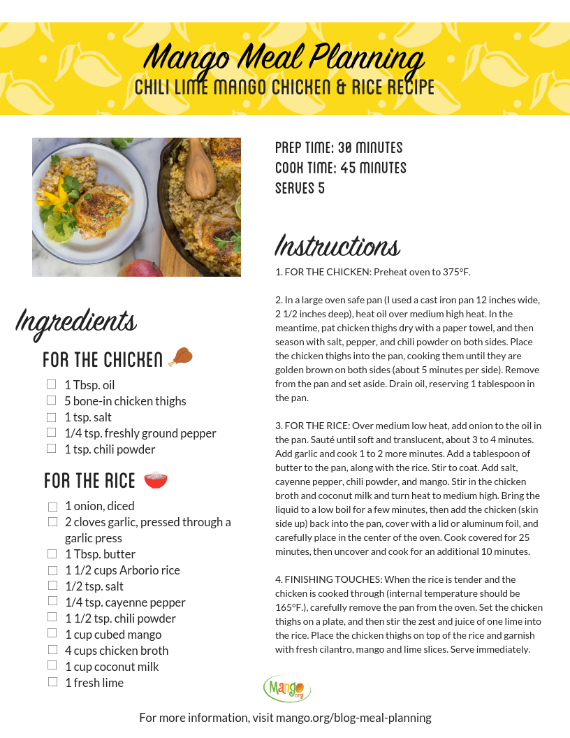 Chili Lime Mango Chicken and Rice Recipe