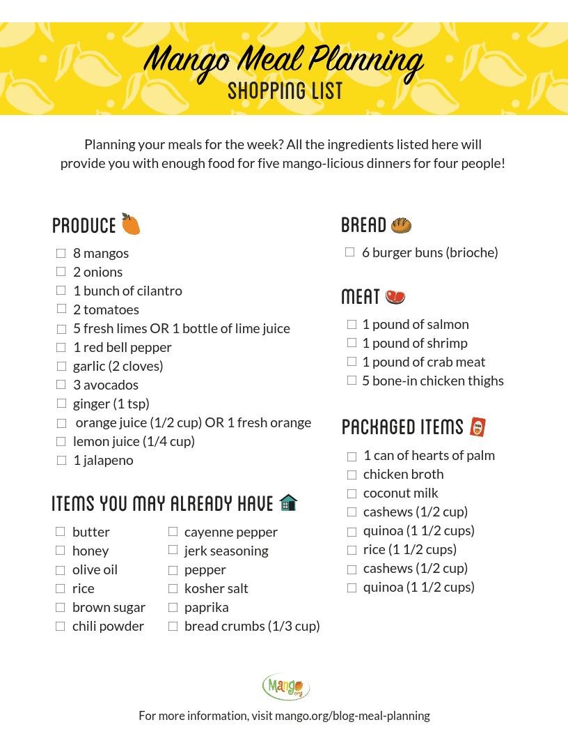 Mango Meal Planning Shopping List