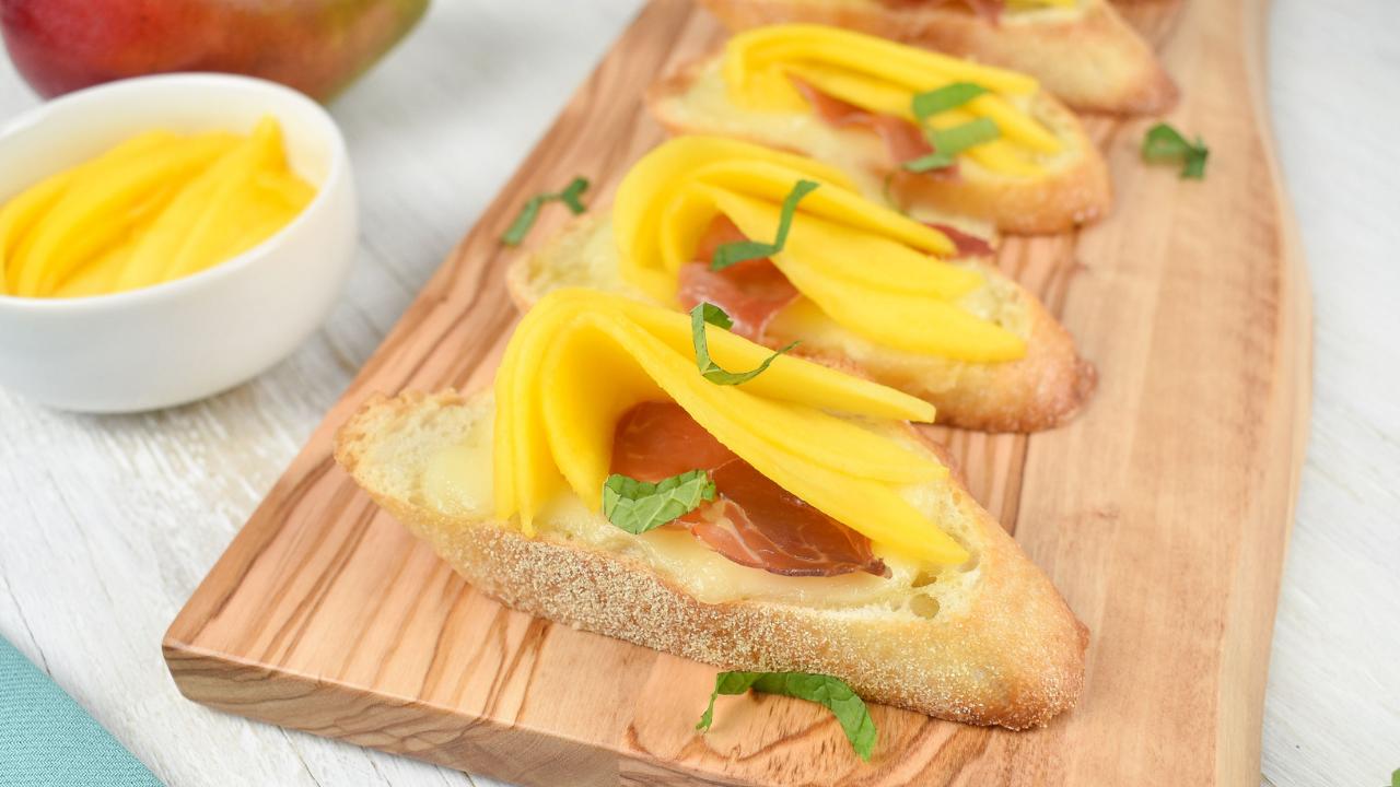 Ayesha Curry Holiday Recipe - mango crostini with crispy prosciutto and brie 2