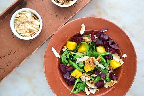 Hanukkah recipes - mango arugula and beet salad