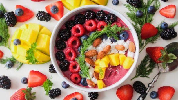 Mango Smoothie Bowl with fruits