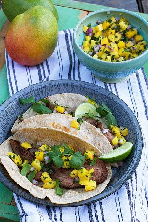 Mango Tacos - Carne Asada Tacos with Mango Salsa