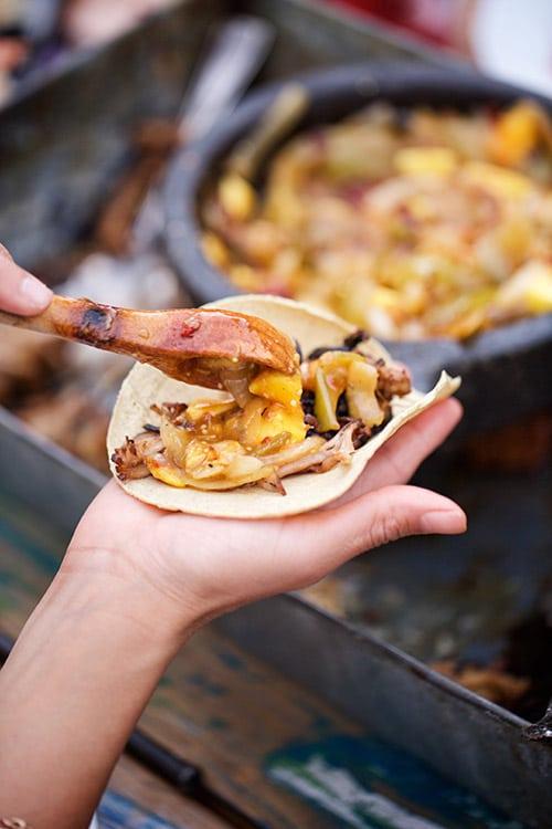 Mango Tacos - Pork Carnitas Tacos with Mango, Tomatillo and Chipotle Salsa