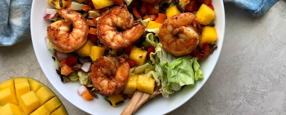 Mango & Black Rice Salad with Chipotle Shrimp Teaser