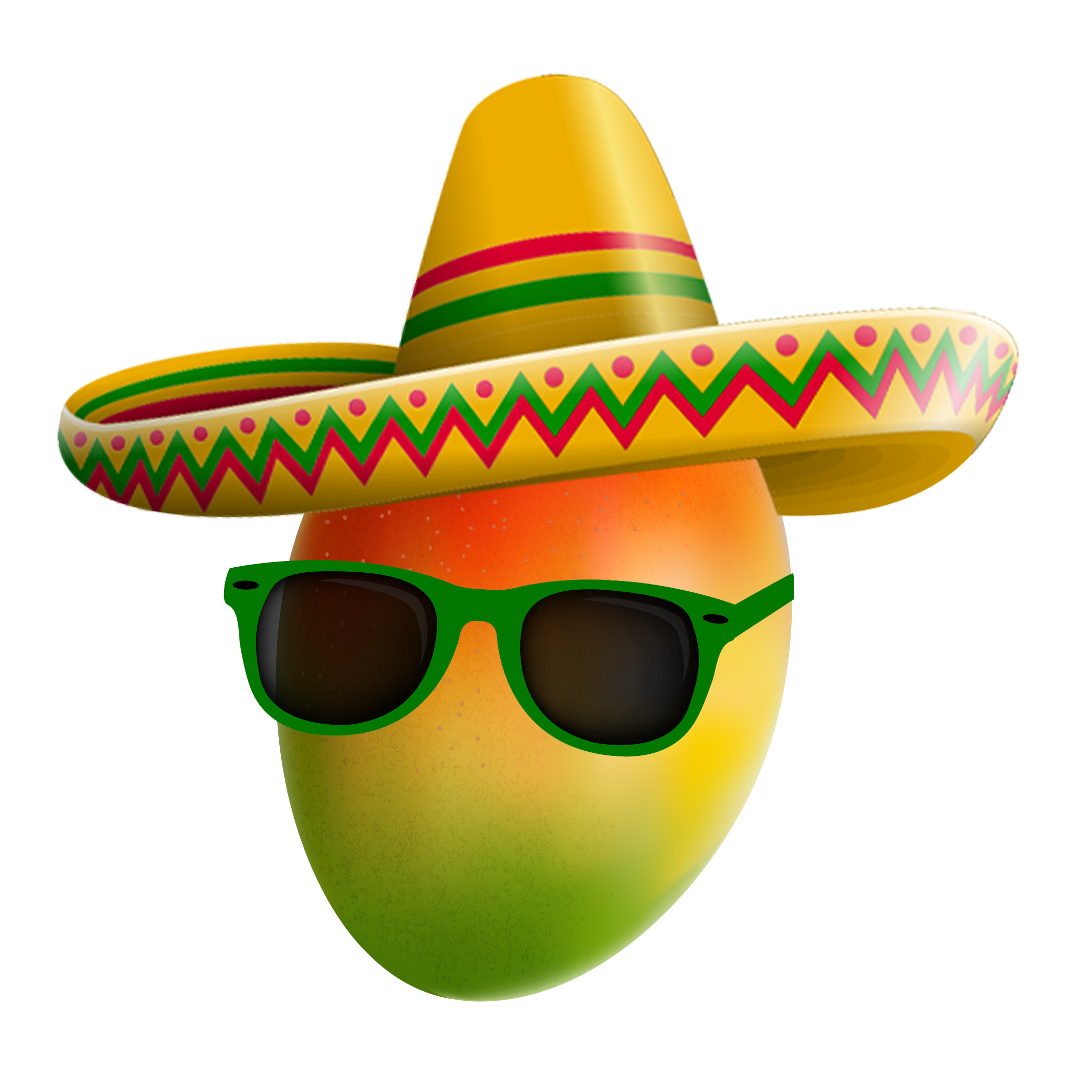 A mango wearing green sunglasses and a sombrero