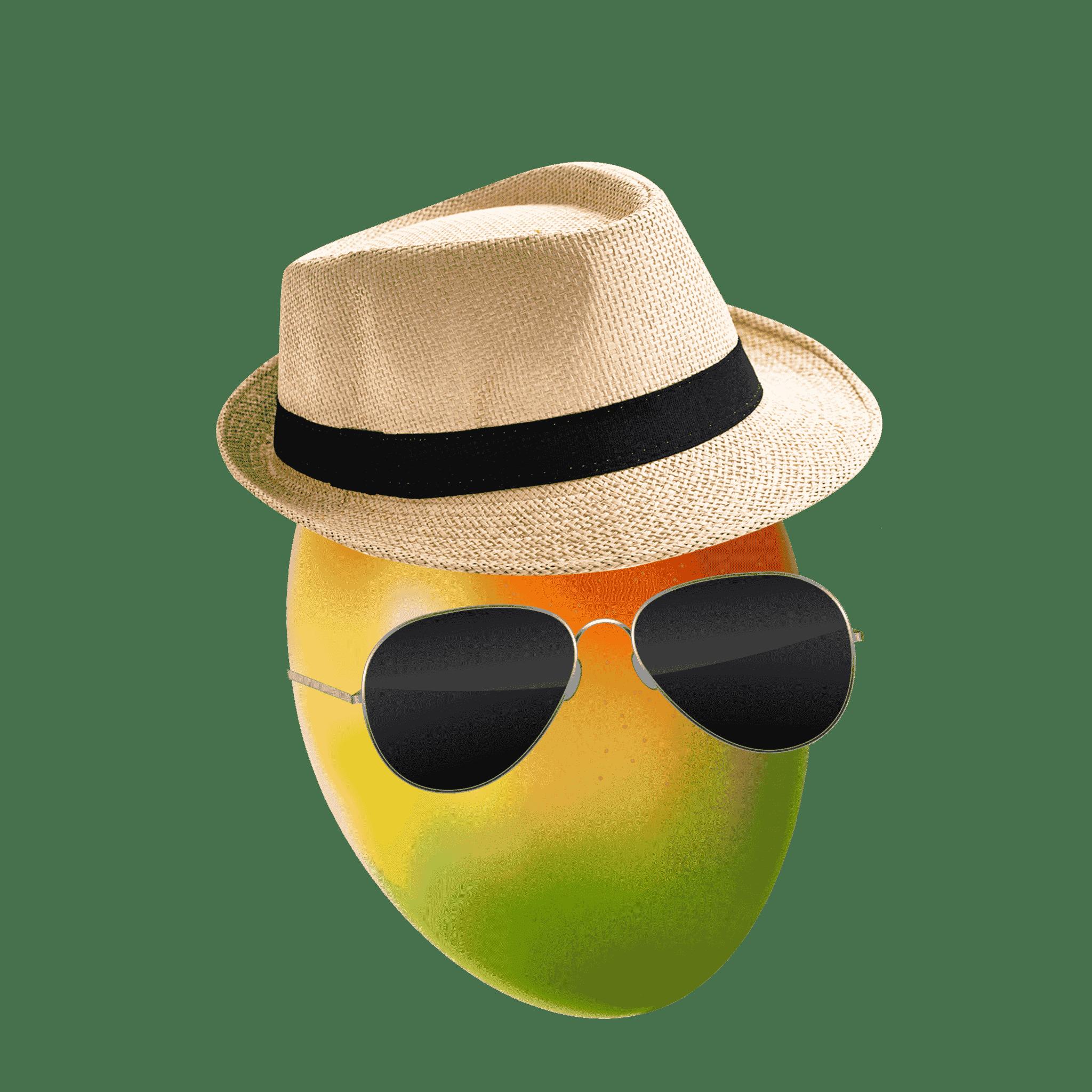A mango wearing aviator sunglasses and a Panama hat