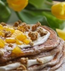 Mango Pancakes with Mango Citrus Syrup